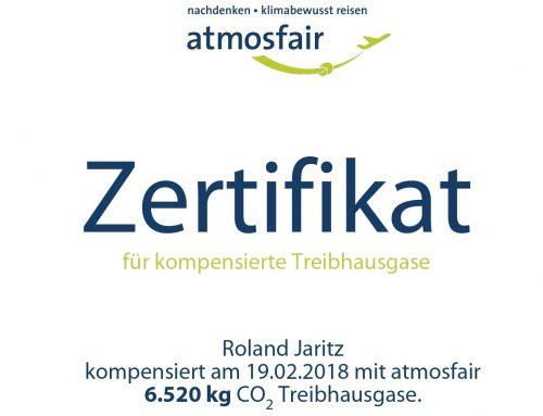 Atmosfair-Zertifikat Welten-verbinden